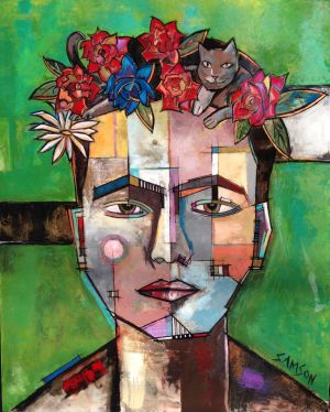 FRIDA ET SON CHAT – 60″ X 48″