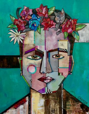 "FRIDA ET SON CHAT III – 60"" x 48"""