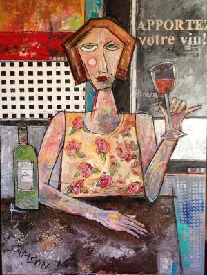 Gisele Apportez Votre Vin —48″ X 36″ — Acrylique et autres matériaux