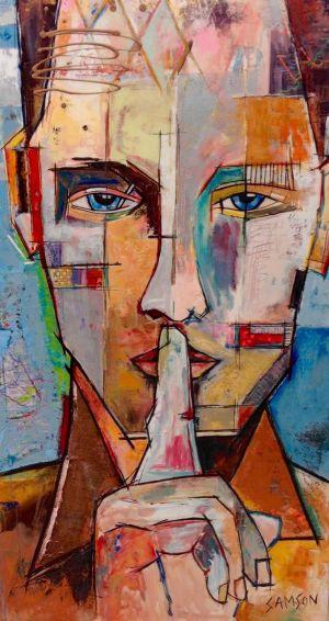 Silence Dans Le Métro — 72″ X 40″ — Acrylique et autres matériaux