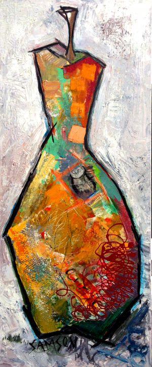 Poire Orange 2 – 30″ X 48″ — Acrylique et autres matériaux