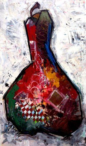 Poire Rouge 2 – 36″ X 48″ — Acrylique et autres matériaux