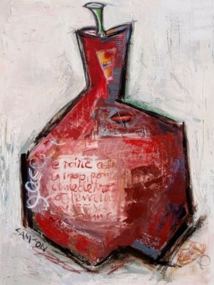 Poire Rouge – 36″ X 48″ — Acrylique et autres matériaux