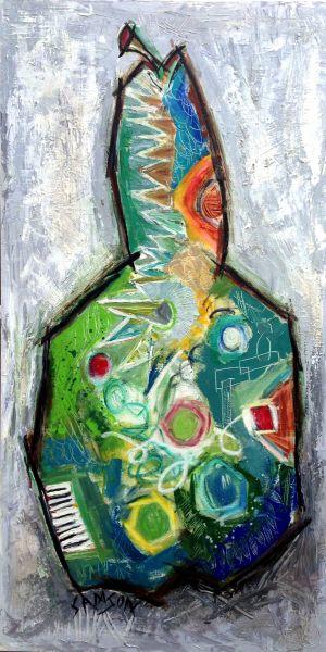 Poire Verte 2 – 24″ X 48″ — Acrylique et autres matériaux