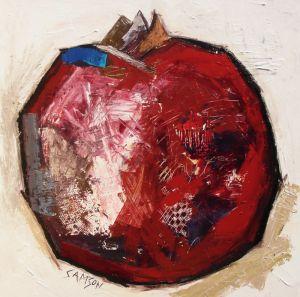pomme grenade 48″ X 48″ — Acrylique et autres matériaux