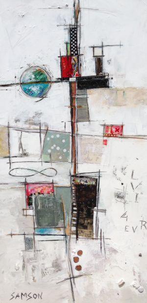La Dame de Coeur — 48″ x 24″ — Acrylique et autres matériaux