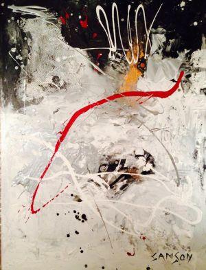 Montréal, 14 février 2001, 6:57 AM. 36″ x 48″ — Acrylique et autres matériaux