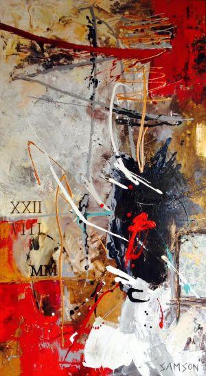 Notre Rencontre – 72″ x 40″ — Acrylique et autres matériaux