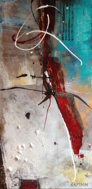 Ombre Rouge Sur Cartier : 48″ X 24″ – Acrylique et autres matériaux