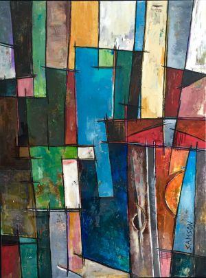 West Coast Sunset II – 40″ X 30″ – Acrylique et autres matériaux.