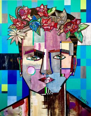 "FRIDA AND HER CAT - 60"" x 48"""