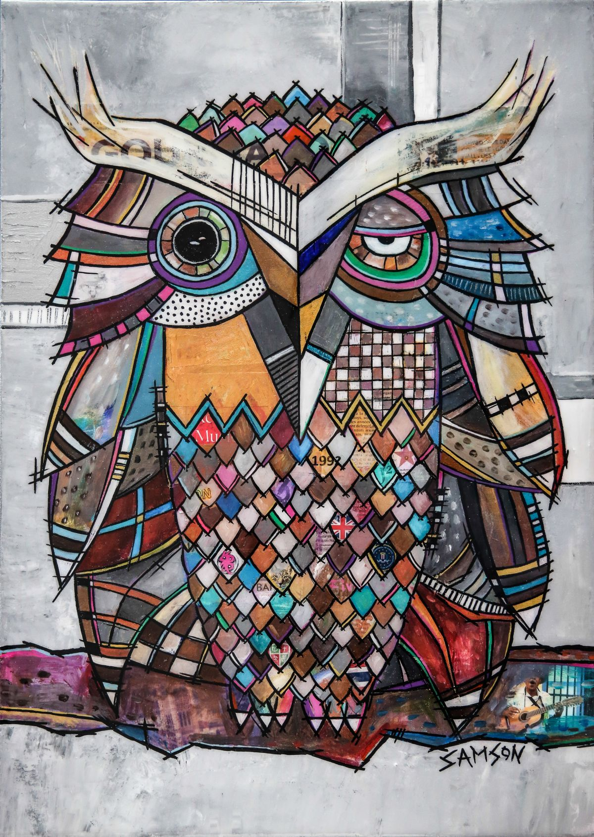 Bien-aimé Owl Art: Paintings & Artwork on canvas by Marc Samson. OA13